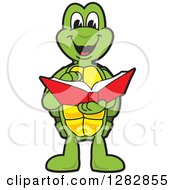 Clipart Of A Happy Turtle School Mascot Character Reading A Book Royalty Free Vector Illustration