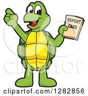 Clipart Of A Happy Turtle School Mascot Character Holding A Report Card Royalty Free Vector Illustration