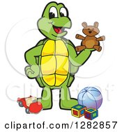 Clipart Of A Happy Turtle School Mascot Character With Toys Royalty Free Vector Illustration by Toons4Biz