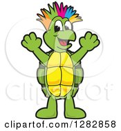 Clipart Of A Happy Turtle School Mascot Character With A Colorful Mohawk Cheering Royalty Free Vector Illustration