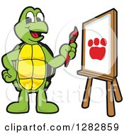 Clipart Of A Happy Turtle School Mascot Character Painting A Paw Print On An Art Canvas Royalty Free Vector Illustration