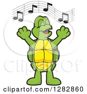 Clipart Of A Happy Turtle School Mascot Character Singing In Chorus Royalty Free Vector Illustration