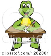 Clipart Of A Happy Turtle School Mascot Character Writing At A Desk Royalty Free Vector Illustration
