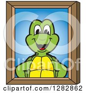 Clipart Of A Happy Turtle School Mascot Character Portrait Royalty Free Vector Illustration by Toons4Biz