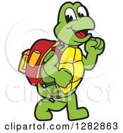 Clipart Of A Happy Turtle School Mascot Character Walking To School Royalty Free Vector Illustration