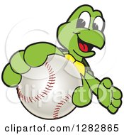 Clipart Of A Happy Turtle School Sports Mascot Character Catching Or Holding Out A Baseball Royalty Free Vector Illustration