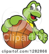 Clipart Of A Happy Turtle School Sports Mascot Character Catching Or Holding Out A Basketball Royalty Free Vector Illustration by Toons4Biz