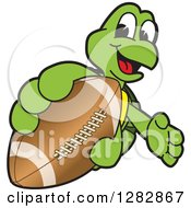 Clipart Of A Happy Turtle School Sports Mascot Character Catching Or Holding Out An American Football Royalty Free Vector Illustration
