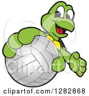 Clipart Of A Happy Turtle School Sports Mascot Character Catching Or Holding Out A Volleyball Royalty Free Vector Illustration by Toons4Biz
