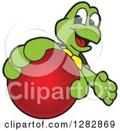 Clipart Of A Happy Turtle School Sports Mascot Character Catching Or Holding Out A Red Ball Royalty Free Vector Illustration