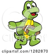 Clipart Of A Happy Turtle School Sports Mascot Character Playing Football Royalty Free Vector Illustration