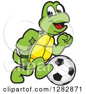 Clipart Of A Happy Turtle School Sports Mascot Character Playing Soccer Royalty Free Vector Illustration by Toons4Biz