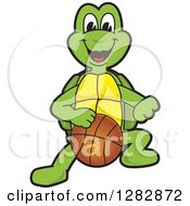 Clipart Of A Happy Turtle School Sports Mascot Character Dribbling A Basketball Royalty Free Vector Illustration