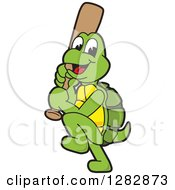 Clipart Of A Happy Baseball Player Turtle School Sports Mascot Character Batting Royalty Free Vector Illustration by Toons4Biz