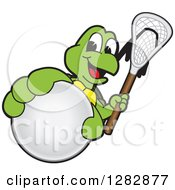 Clipart Of A Happy Turtle School Sports Mascot Character Holding Out A Lacrosse Ball And Stick Royalty Free Vector Illustration