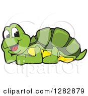 Clipart Of A Happy Turtle School Mascot Character Resting Royalty Free Vector Illustration