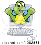 Clipart Of A Happy Turtle School Mascot Character Emerging From A Desktop Computer Screen Royalty Free Vector Illustration