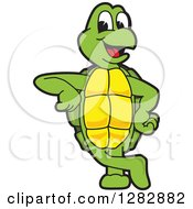 Clipart Of A Happy Turtle School Mascot Character Leaning Royalty Free Vector Illustration by Toons4Biz