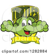 Clipart Of A Happy Turtle School Mascot Character Leaping Out From A Shield With Text And A Blank Banner Royalty Free Vector Illustration by Toons4Biz
