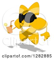 Poster, Art Print Of Cartoon Sun Character Wearing Shades Facing Left And Holding Up A Glass Of Iced Tea Or Juice