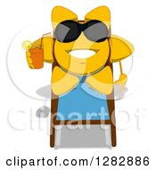 Poster, Art Print Of Cartoon Sun Character Wearing Shades Relaxing In A Chaise Lounge And Holding A Glass Of Iced Tea Or Juice
