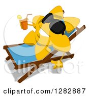Poster, Art Print Of Cartoon Sun Character Wearing Shades Facing Left Relaxing In A Chaise Lounge And Holding A Glass Of Iced Tea Or Juice