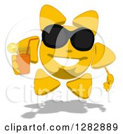 Poster, Art Print Of Cartoon Sun Character Wearing Shades And Holding A Glass Of Iced Tea Or Juice