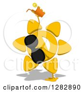 Poster, Art Print Of Cartoon Sun Character Wearing Shades Cartwheeling And Holding A Glass Of Iced Tea Or Juice