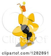 Poster, Art Print Of Cartoon Sun Character Wearing Shades Facing Right Cartwheeling And Holding A Glass Of Iced Tea Or Juice