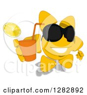 Poster, Art Print Of Cartoon Sun Character Wearing Shades And Holding Up A Glass Of Iced Tea Or Juice