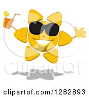 Poster, Art Print Of Cartoon Sun Character Wearing Shades Jumping And Holding A Glass Of Iced Tea Or Juice