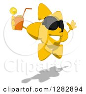 Poster, Art Print Of Cartoon Sun Character Wearing Shades Facing Right Jumping And Holding A Glass Of Iced Tea Or Juice