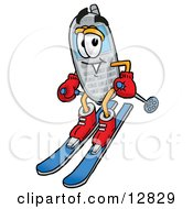 Clipart Picture Of A Wireless Cellular Telephone Mascot Cartoon Character Skiing Downhill