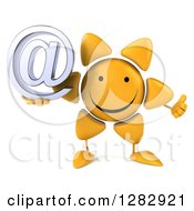 Clipart Of A 3d Sun Character Holding A Thumb Up And An Email Arobase At Symbol Royalty Free Illustration