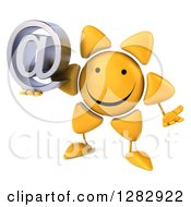 Clipart Of A 3d Sun Character Shrugging And Holding An Email Arobase At Symbol Royalty Free Illustration
