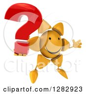 Clipart Of A 3d Sun Character Facing Slightly Right Jumping And Holding A Question Mark Royalty Free Illustration