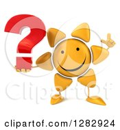 Clipart Of A 3d Sun Character Holding Up A Finger And A Question Mark Royalty Free Illustration