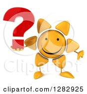 Clipart Of A 3d Sun Character Holding A Thumb Down And A Question Mark Royalty Free Illustration