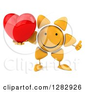 Clipart Of A 3d Sun Character Holding Up A Thumb And A Heart Royalty Free Illustration