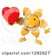 Clipart Of A 3d Sun Character Shrugging And Holding A Heart Royalty Free Illustration