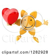 Clipart Of A 3d Sun Character Jumping And Holding A Heart Royalty Free Illustration