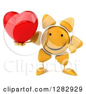 Clipart Of A 3d Sun Character Holding And Pointing To A Heart Royalty Free Illustration