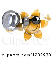 Clipart Of A 3d Sun Character Wearing Sunglasses Holding Up A Finger And An Email Arobase At Symbol Royalty Free Illustration