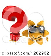 Clipart Of A 3d Sun Character Wearing Shades And Holding Up A Question Mark Royalty Free Illustration