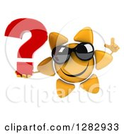 Clipart Of A 3d Sun Character Wearing Shades Holding Up A Finger And A Question Mark Royalty Free Illustration