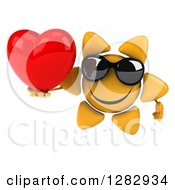 Clipart Of A 3d Sun Character Wearing Sunglasses And Holding A Heart Royalty Free Illustration