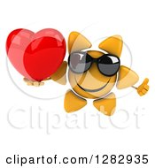 Clipart Of A 3d Sun Character Wearing Sunglasses Holding A Thumb Up And A Heart Royalty Free Illustration