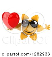 Clipart Of A 3d Sun Character Wearing Sunglasses Jumping And Holding A Heart Royalty Free Illustration