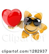 Clipart Of A 3d Sun Character Wearing Sunglasses Holding And Pointing To A Heart Royalty Free Illustration