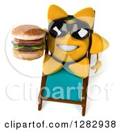 Clipart Of A 3d Sun Character Wearing Sunglasses And Holding A Double Cheeseburger On A Chaise Lounge Royalty Free Illustration